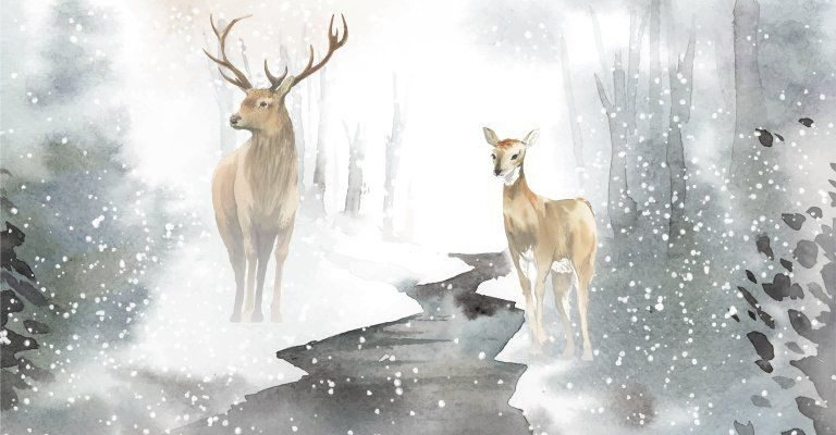 about conscious living - deer in snowstorm painting